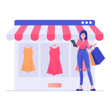 Standing Woman Buying Clothes and Dress Illustration