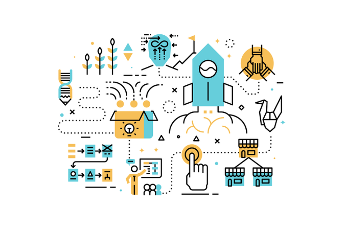 Startup business line icons illustration Illustration