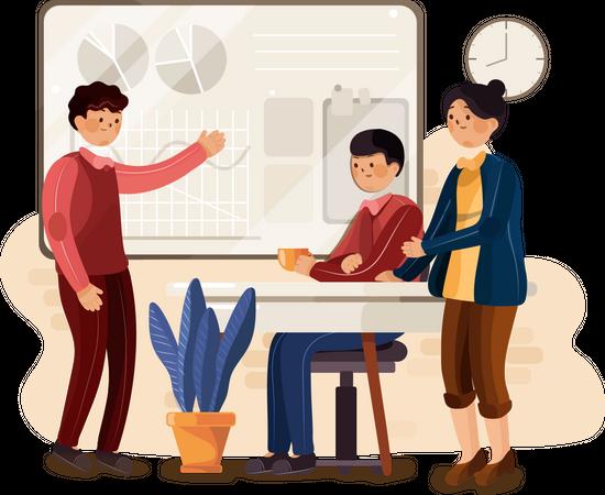 Startup company doing team meeting Illustration