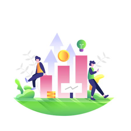 Startup gaining profit in business Illustration