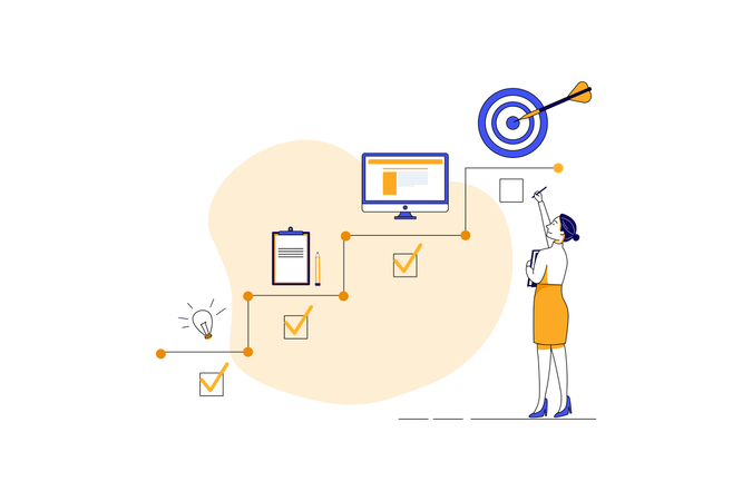 Startup idea,planning ,publish and achieved target Illustration