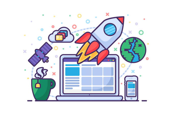 Startup launch rocket success new business vector Illustration