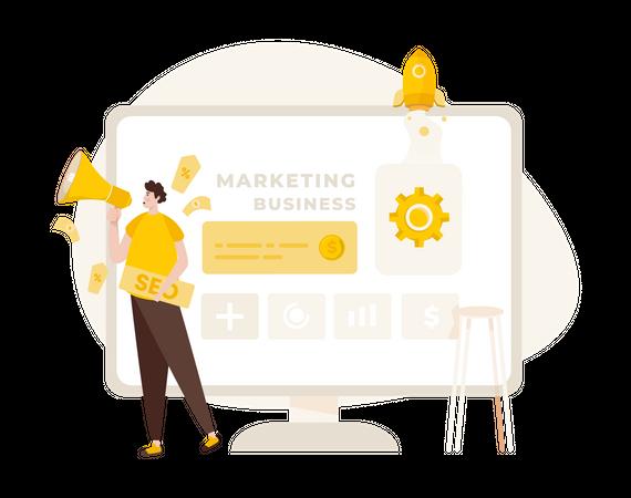 Startup marketing using SEO Illustration
