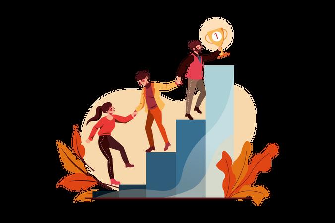 Startup team achieving business goal Illustration