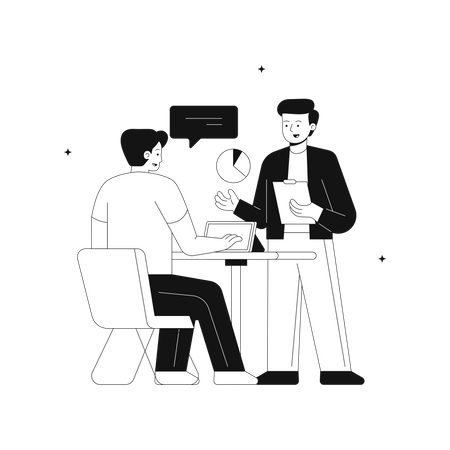 Startup team discussing growth report Illustration