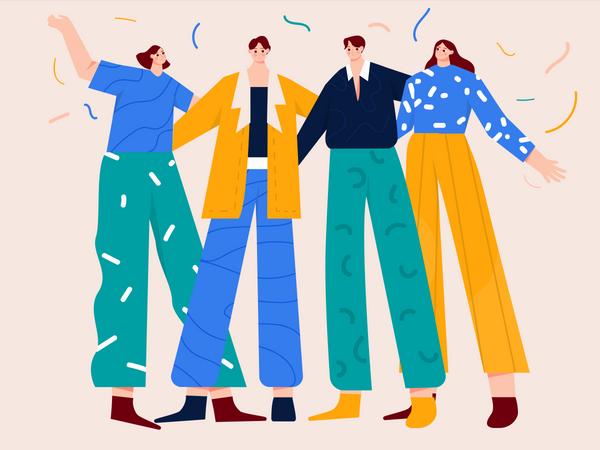 Startup team enjoying business success Illustration
