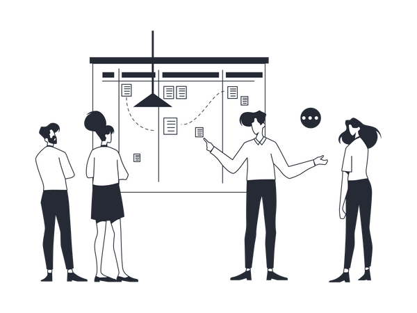 Startup team working on Marketing Strategy Illustration