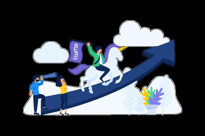 Startup unicorn achievement Illustration