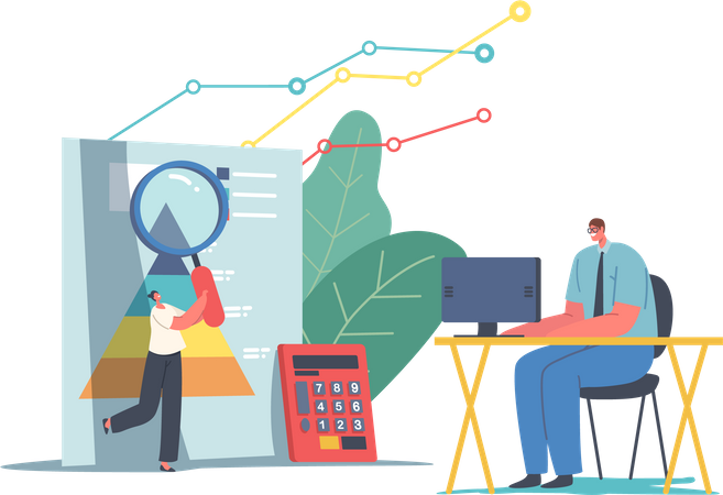 Statistical and Data Analysis for Business Investment and Financial Monitoring Illustration