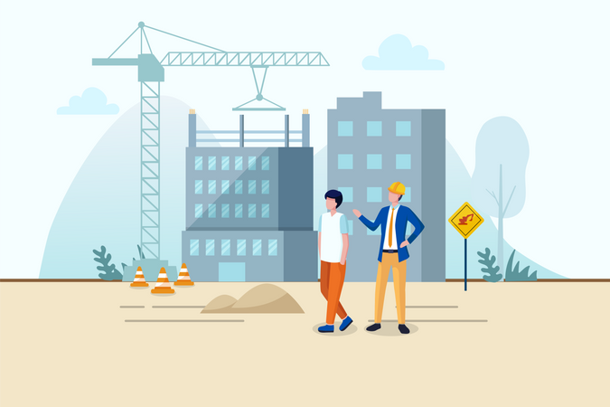 Stay away from construction site for safety Illustration