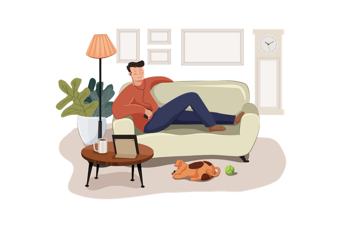 Staying at home Illustration