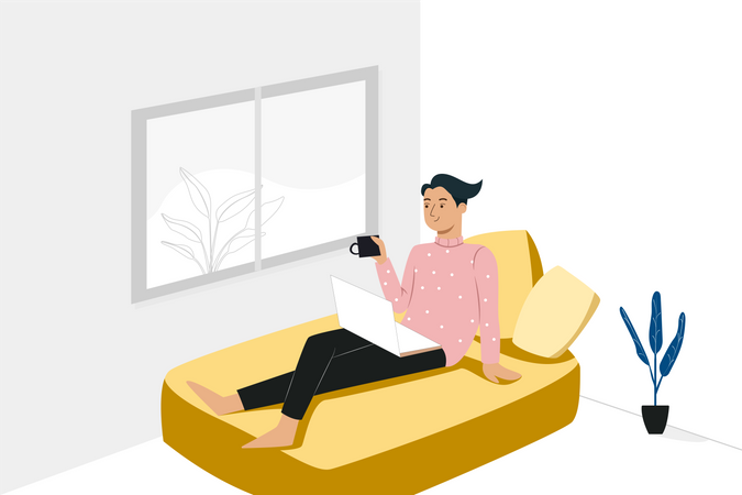 Staying at home concept Illustration
