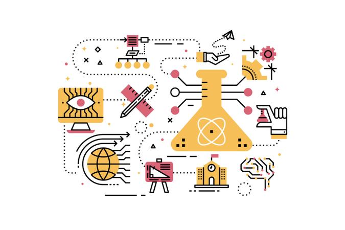 STEM (science,technology,engineering,math) education line icons illustration Illustration