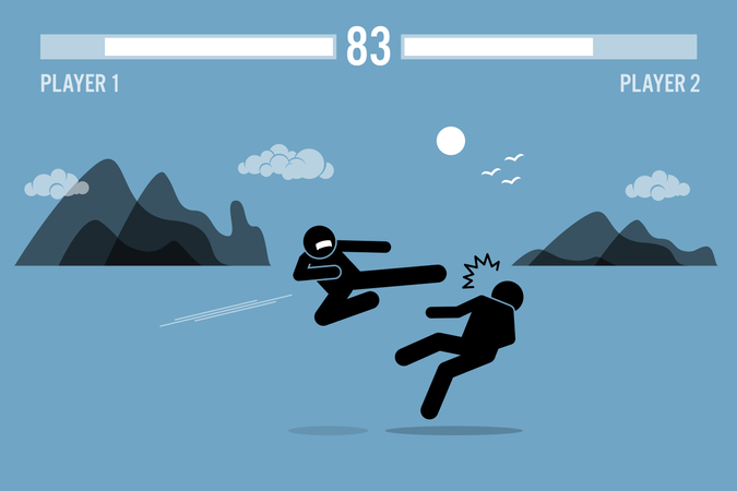 Stick figure fighter characters fighting in a game Illustration