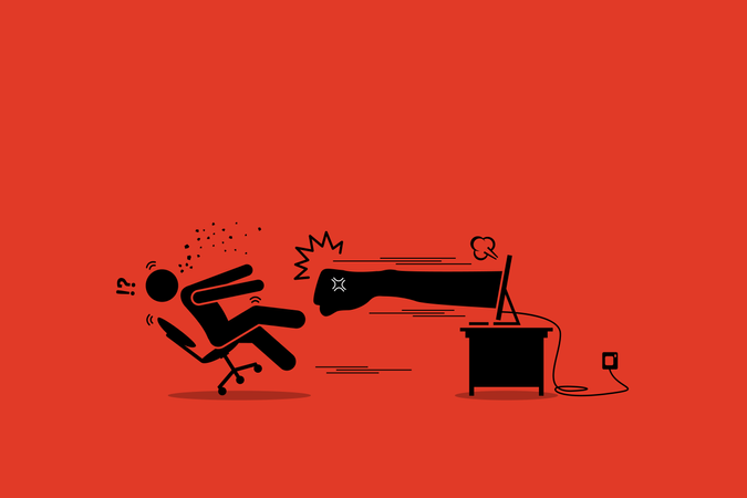 Stick figure man being punched by an angry hater fist flying out from the computer monitor screen Illustration