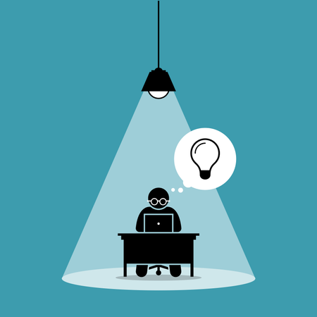 Stick figure man concentrating and focusing on his computer work and thinking of new idea under a spot light Illustration