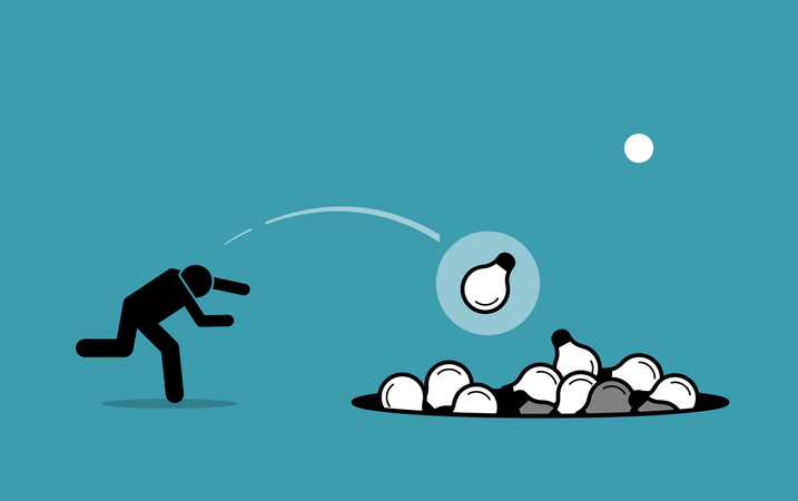 Stick figure man throwing away unwanted ideas into a hole Illustration