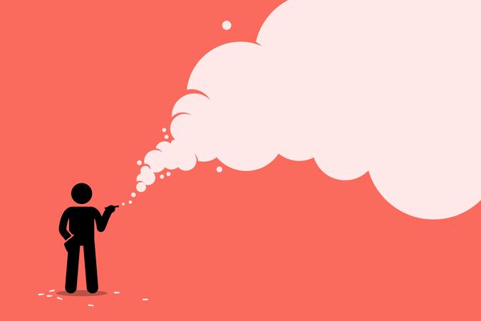 Stick figure smoker smoking cigarette with a lot of smoke Illustration