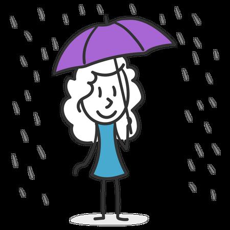 Stick girl in rain Illustration
