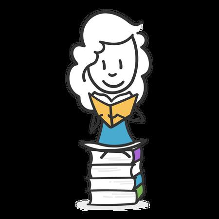 Stick girl lover of reading Illustration
