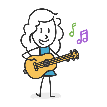 Stick girl playing Guitar Illustration