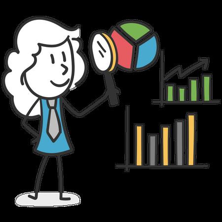 Stick girl with magnifying glass examining statistics Illustration