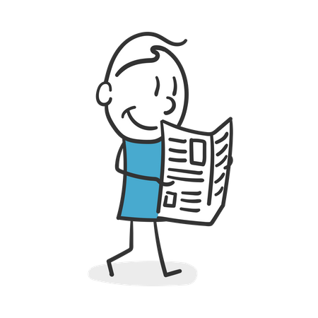 Stick man reading the newspaper Illustration