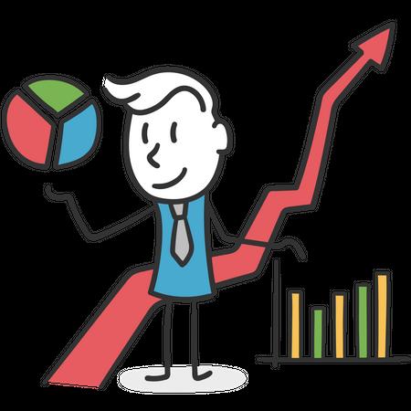 Stick man strategist of business Illustration