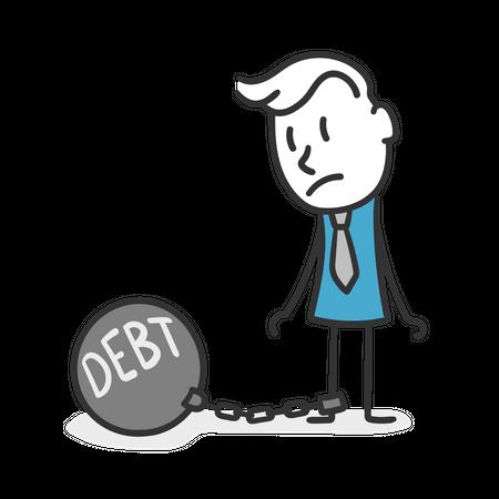 Stick man with debts Illustration