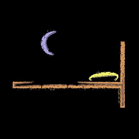 Stickman Sitting on bed Illustration