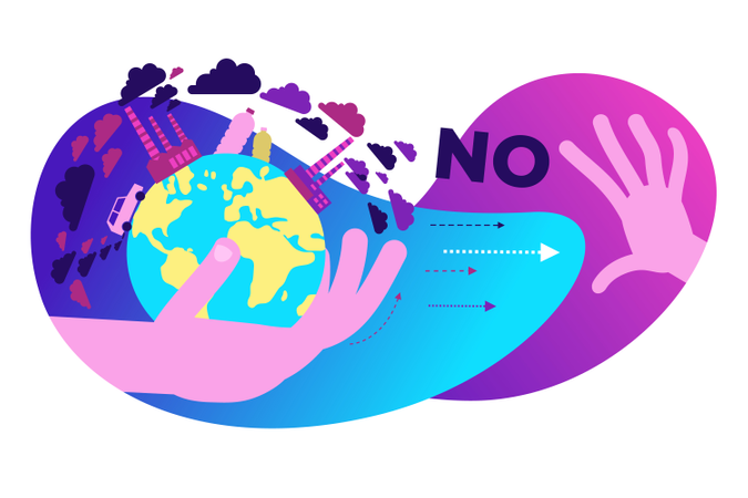 Stop air pollution and plastic waste Illustration