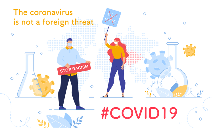 Stop Asian Racism due to Coronavirus Pandemic Illustration