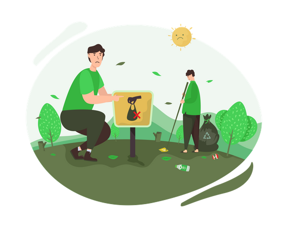 Stop throwing trash campaign Illustration