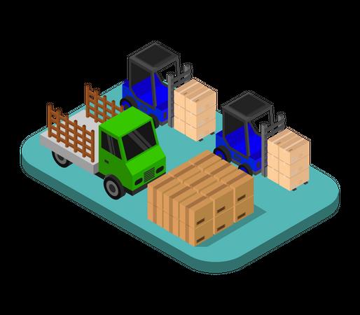 Storage vehicles moving card boxes Illustration