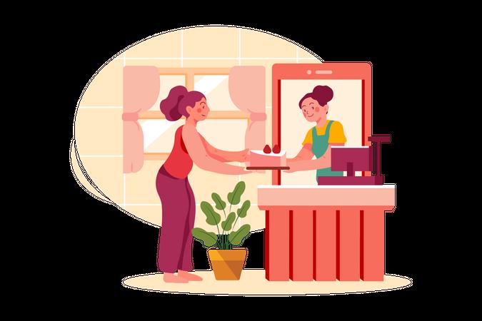 Store Reception Desk Illustration