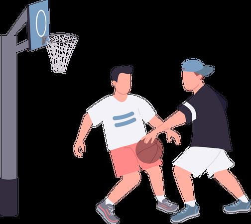 Street basketball players Illustration