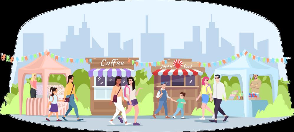 Street food festival Illustration