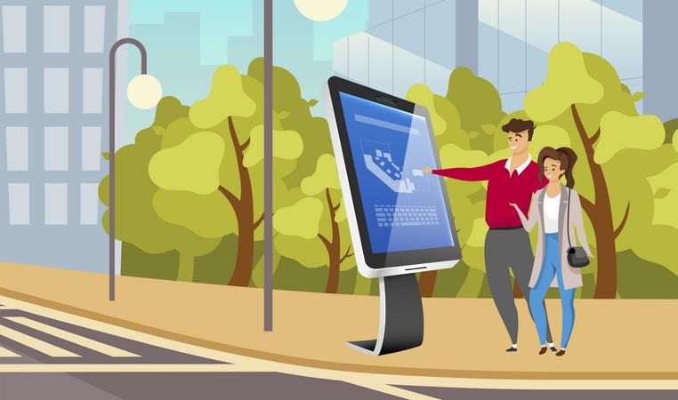 Street information self service kiosk Illustration