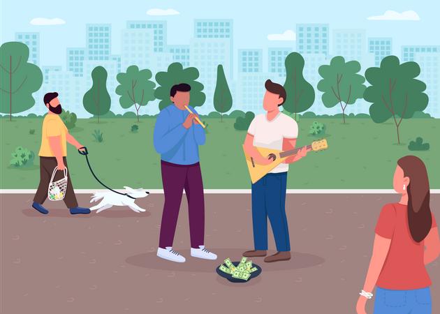 Street music playing Illustration