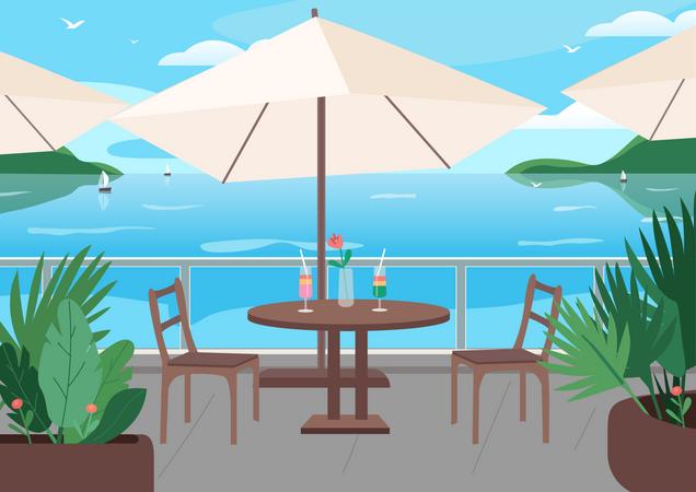 Street restaurant at seaside resort Illustration