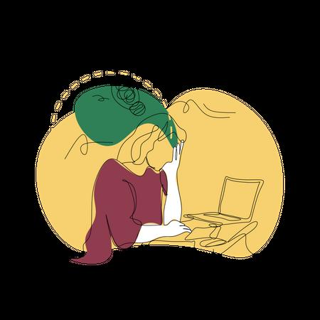 Stressed businesswoman Illustration