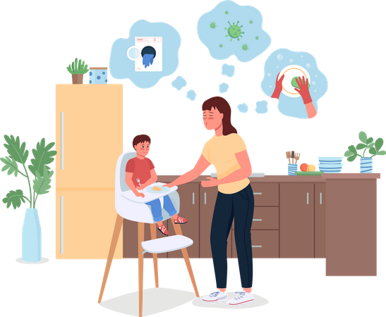 Stressed mother with baby in kitchen Illustration