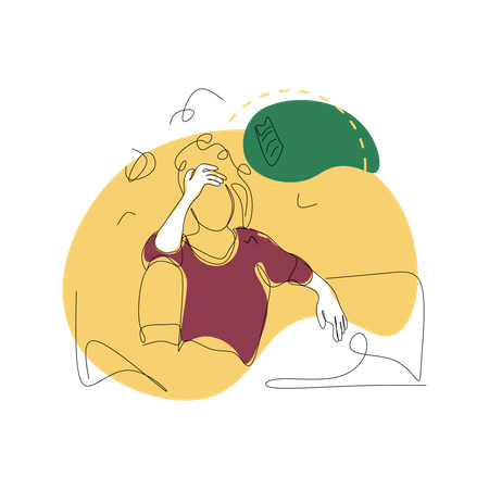 Stressed woman Illustration