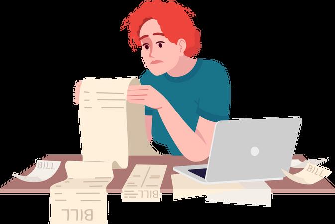 Stressed woman studying bill Illustration