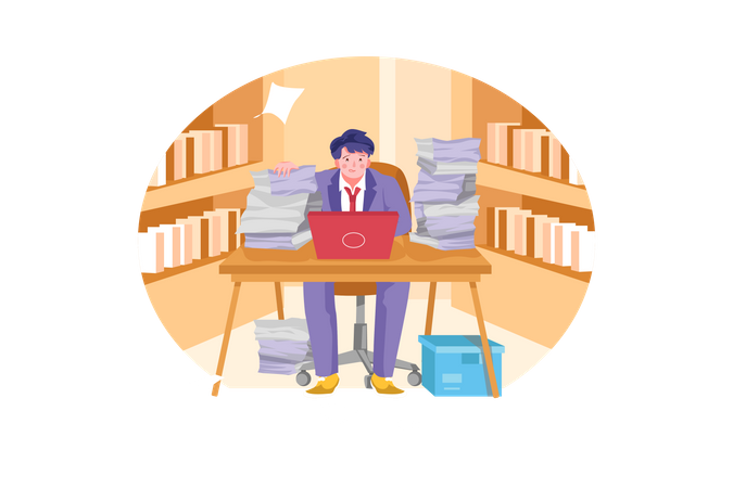 Stressful businessman with heavy workload papers Illustration