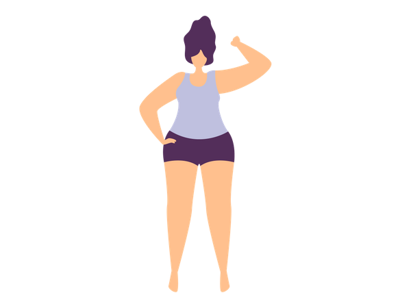 Strong Happy Sporty Woman Illustration