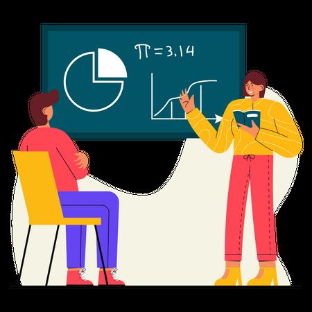 Student Attending Maths class Illustration