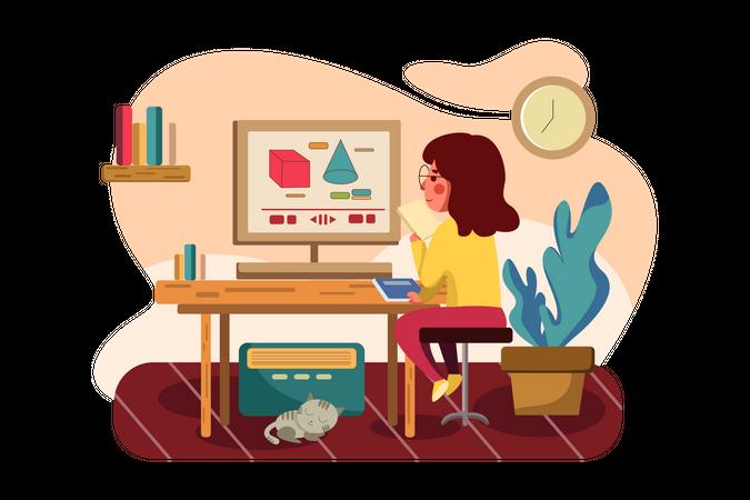 Student attending online math tutorial Illustration