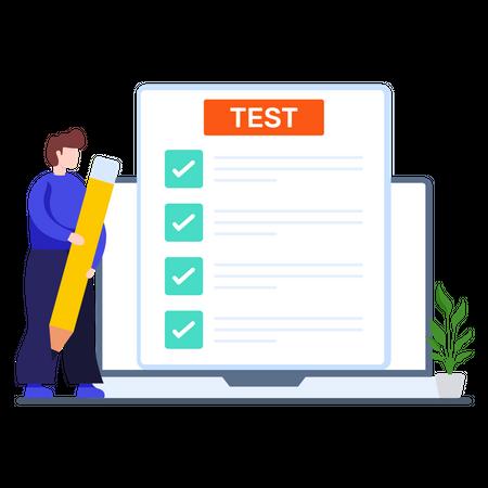 Student giving online exam Illustration