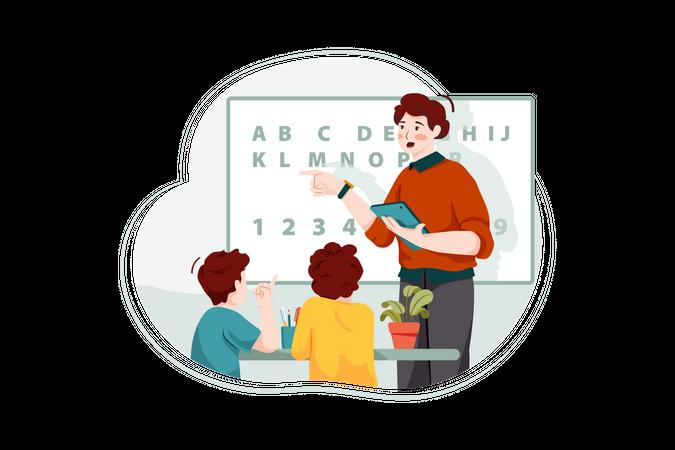 Student Learning Alphabets Illustration